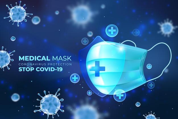 Coronavirus bescherming schild achtergrond Gratis Vector
