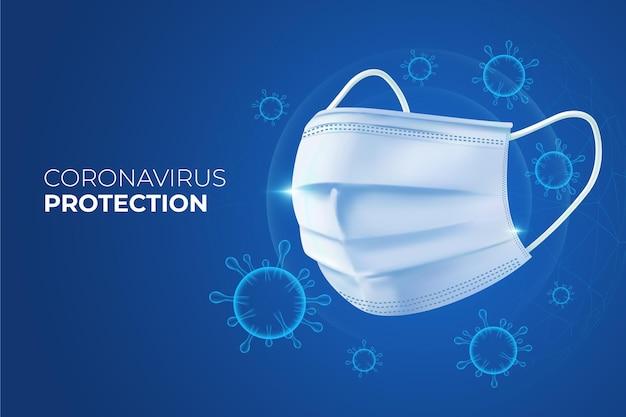 Coronavirus-beschermingsachtergrond met gezichtsmasker Gratis Vector