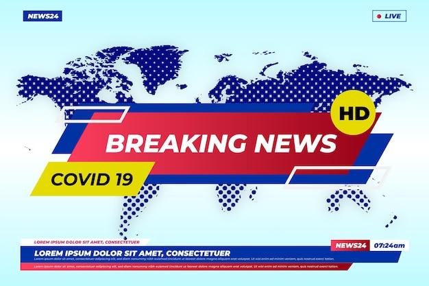 Coronavirus breaking news achtergrond Gratis Vector