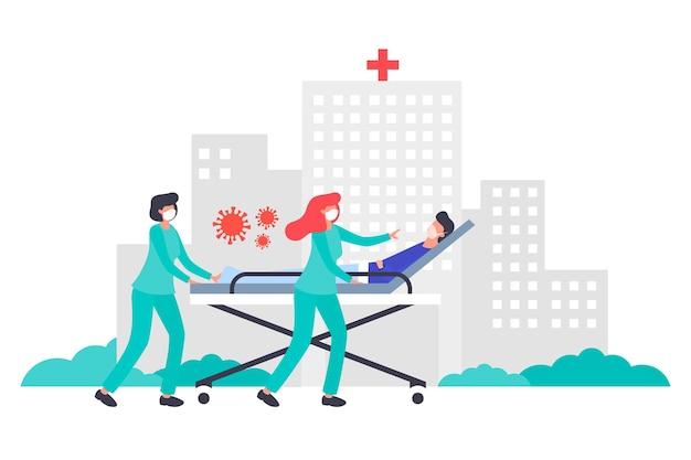 Coronavirus concept met patiënt in kritieke toestand Gratis Vector