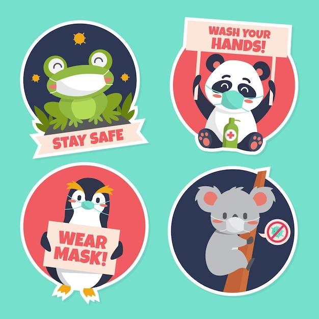 Coronavirus concept stickers met schattige dieren Premium Vector