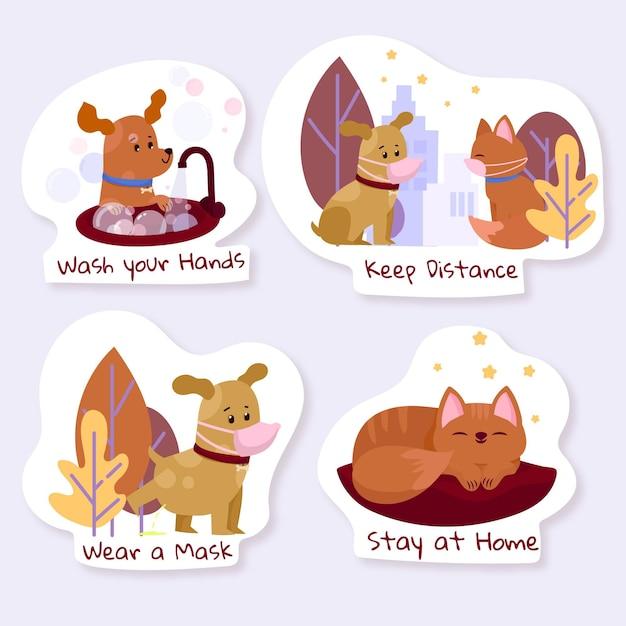 Coronavirus concept stickers met schattige dieren Gratis Vector