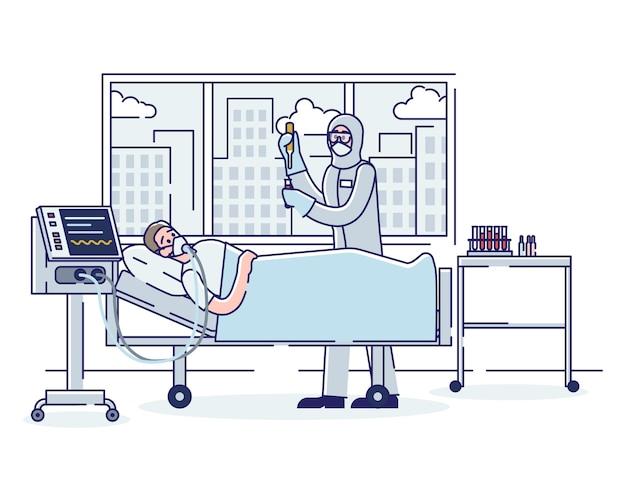 Coronavirus en intensieve therapie concept zieke geïnfecteerde man Premium Vector