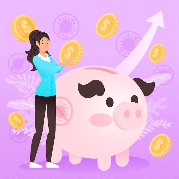 Coronavirus financieel herstel illustratie Gratis Vector