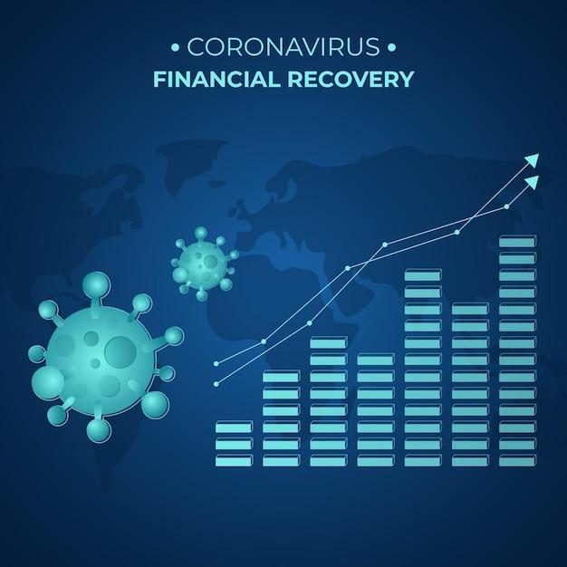 Coronavirus financieel herstel met groeiende grafiek Premium Vector