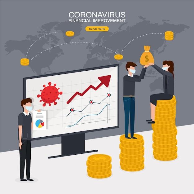 Coronavirus financieel herstel na crisis Gratis Vector