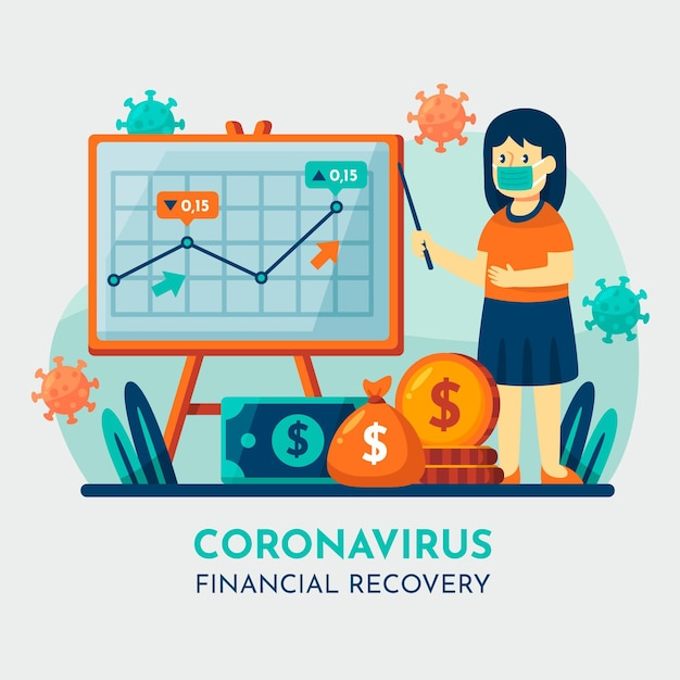 Coronavirus financieel herstel Gratis Vector