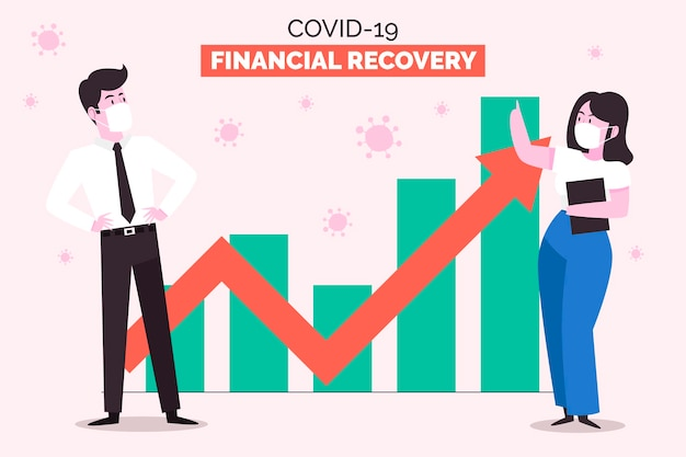 Coronavirus financieel herstel Premium Vector