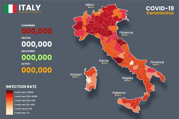 Coronavirus geïnfecteerde kaart van italië Gratis Vector