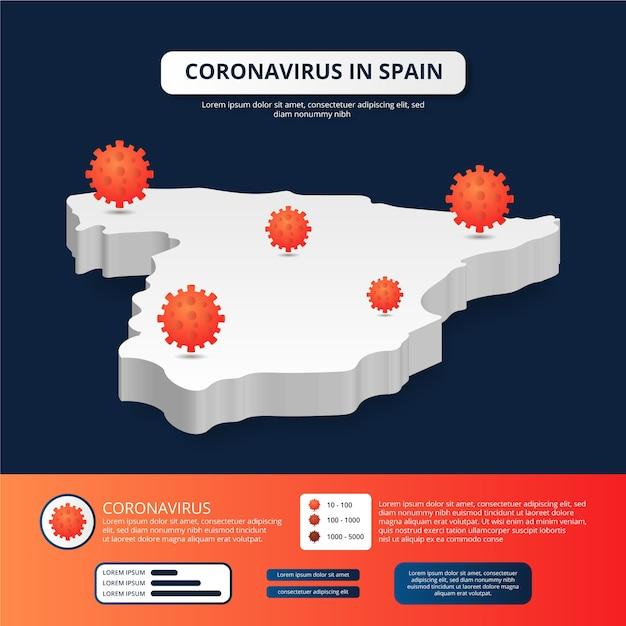 Coronavirus geïnfecteerde kaart van spanje Gratis Vector