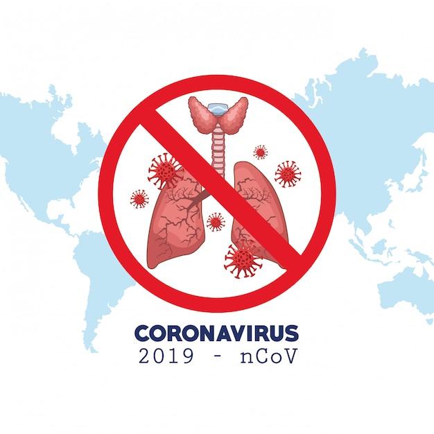 Coronavirus infographic met wereldkaart en longen Premium Vector