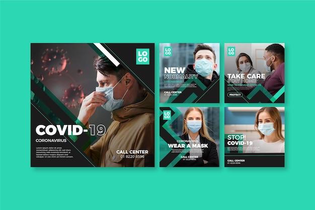 Coronavirus instagram postverzameling Premium Vector