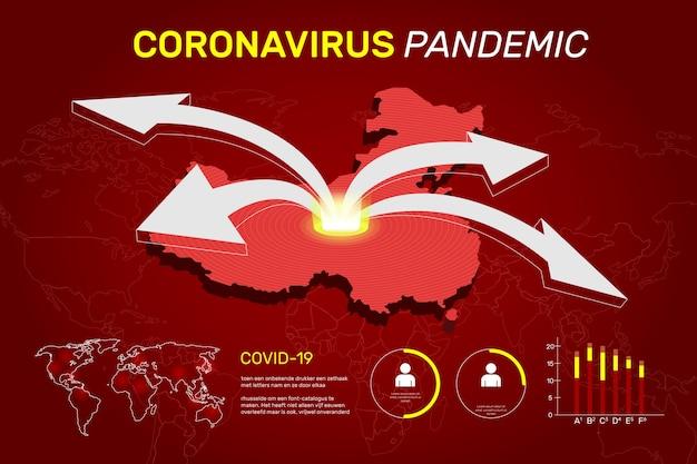 Coronavirus kaart concept Gratis Vector