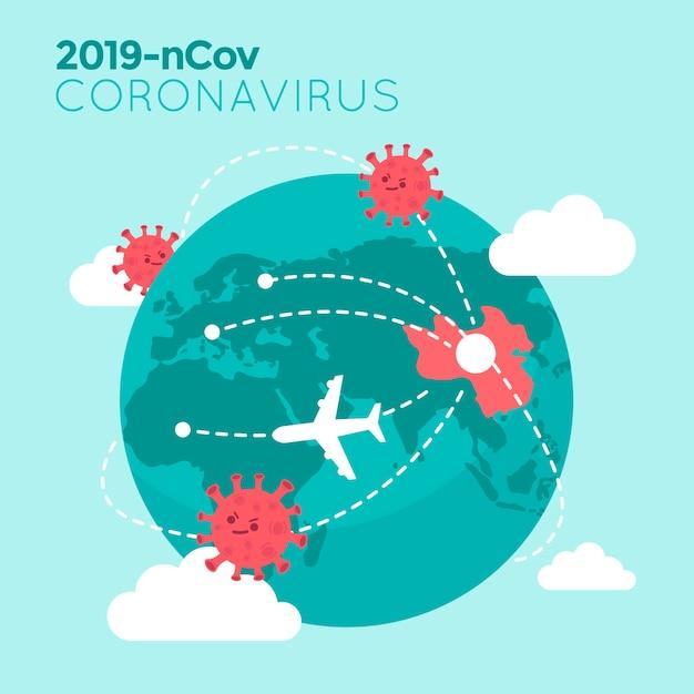 Coronavirus kaart illustratie met planeet Gratis Vector