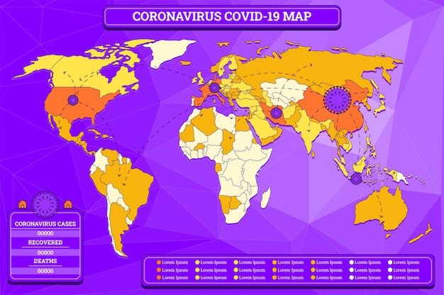 Coronavirus kaart illustratie Gratis Vector