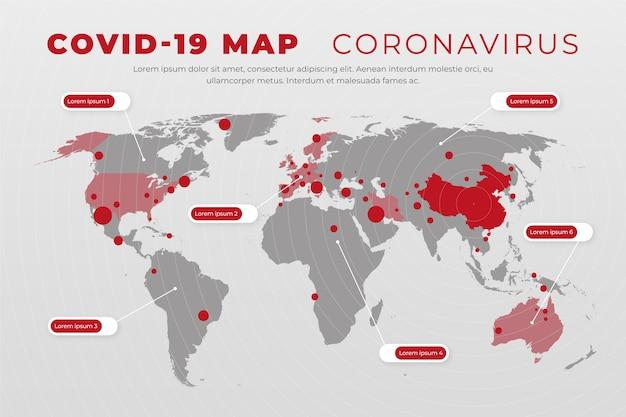 Coronavirus kaartgevallen Gratis Vector