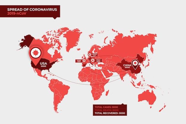 Coronavirus kaartontwerp Gratis Vector