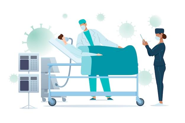 Coronavirus kritisch patiëntontwerp Gratis Vector