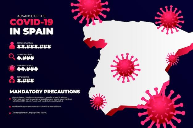 Coronavirus landkaart infographic voor spanje Gratis Vector