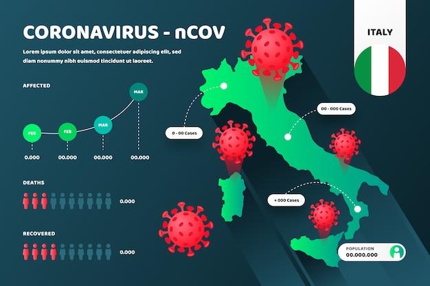 Coronavirus landkaart infographic Gratis Vector