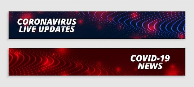 Coronavirus live updates en nieuwsbrede banners ingesteld Gratis Vector