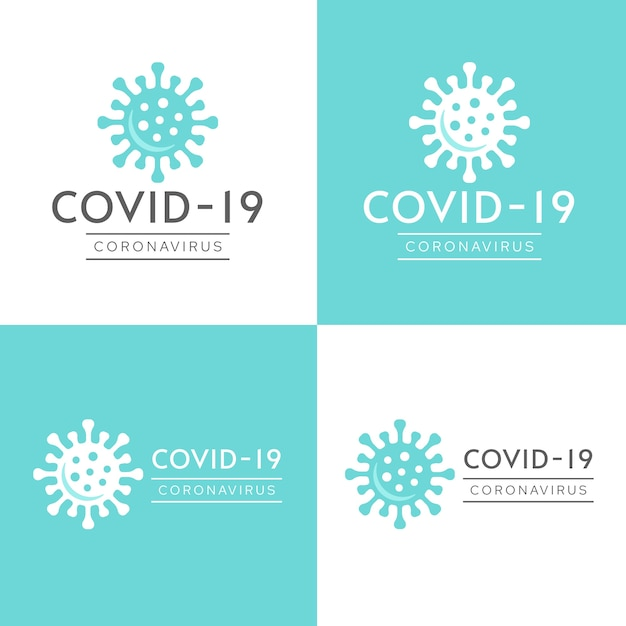 Coronavirus-logo met bacteriën in witte en blauwe tinten Premium Vector