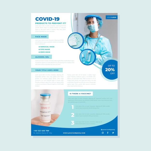 Coronavirus medische producten afdruksjabloon met foto Gratis Vector