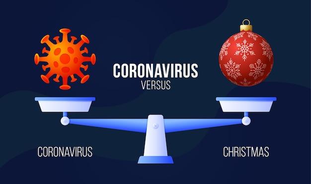 Coronavirus of kerst vectorillustratie. Premium Vector
