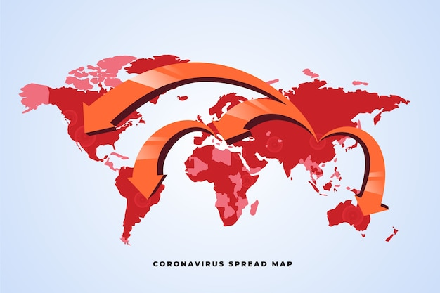 Coronavirus pandemie rond de wereldkaart Gratis Vector