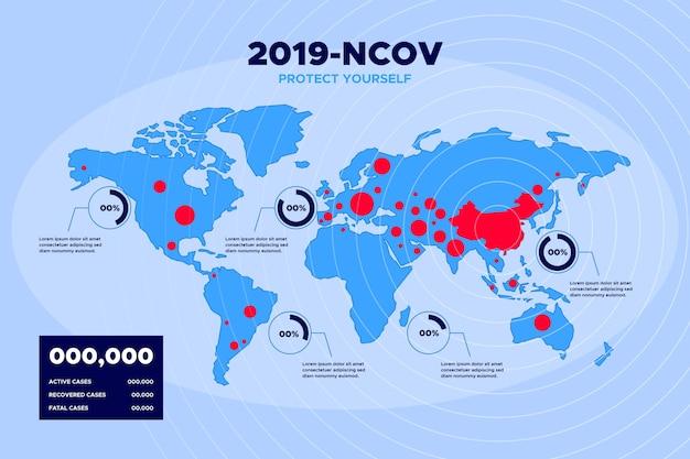Coronavirus pandemische kaart Gratis Vector