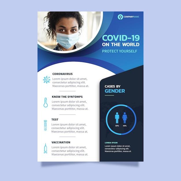Coronavirus poster sjabloon met foto Gratis Vector