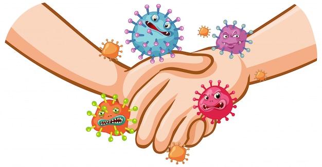 Coronavirus posterontwerp met handdruk en ziektekiemen op handen Gratis Vector