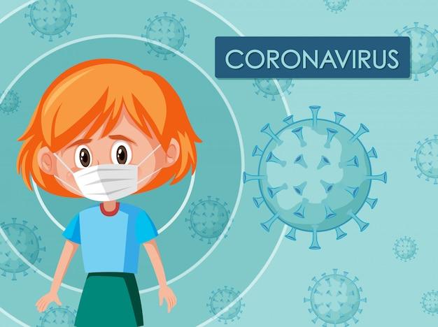 Coronavirus posterontwerp met meisje dat masker draagt Premium Vector