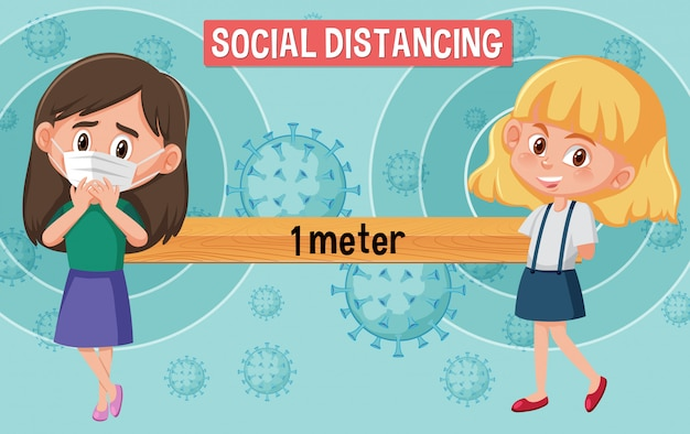 Coronavirus posterontwerp met meisjes en woord sociale afstand Premium Vector
