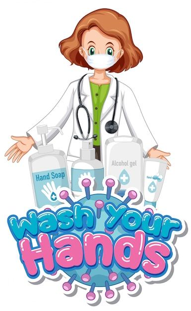 Coronavirus posterontwerp met woord handen wassen en arts met masker Premium Vector