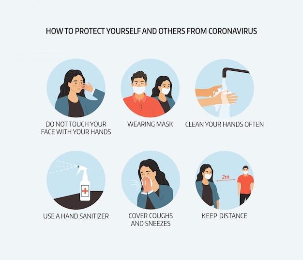 Coronavirus preventie illustratie Premium Vector
