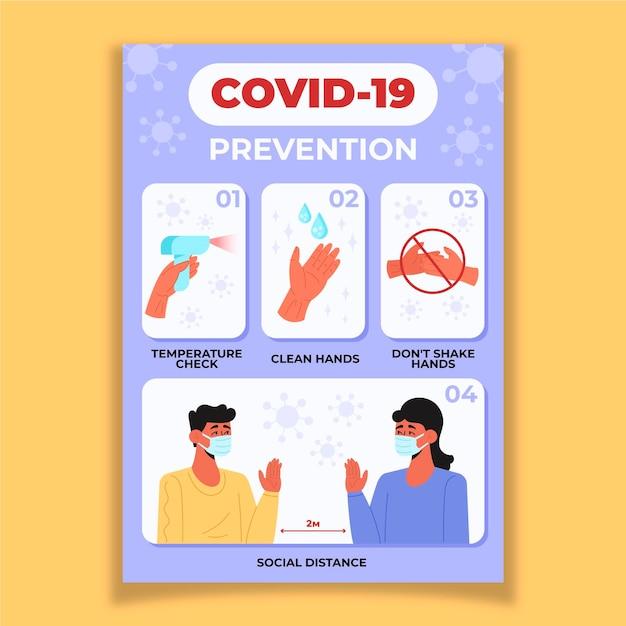 Coronavirus preventie poster Premium Vector