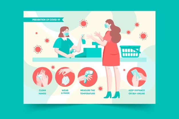 Coronavirus-preventieposter voor winkels Gratis Vector