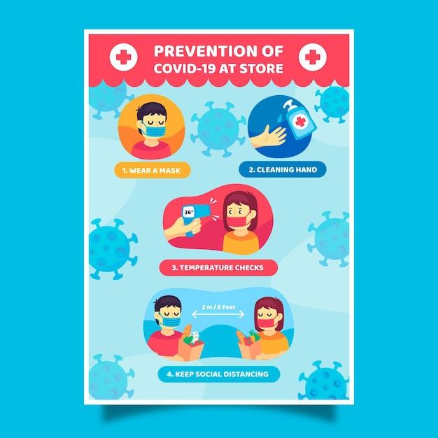Coronavirus-preventieposter voor winkels Premium Vector