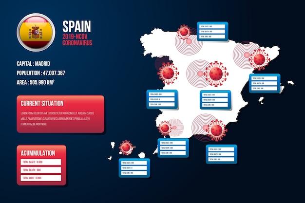 Coronavirus spanje kaart infographic Gratis Vector