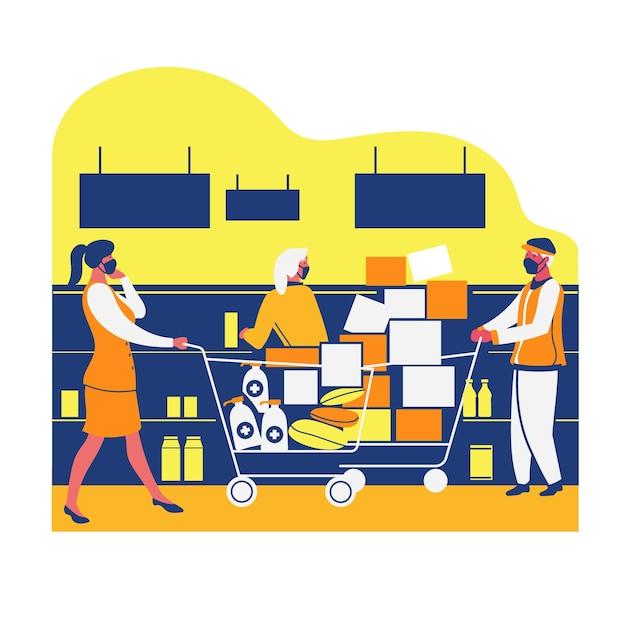 Coronavirus supermarkt concept Gratis Vector