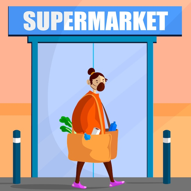Coronavirus supermarkt geïllustreerd thema Gratis Vector