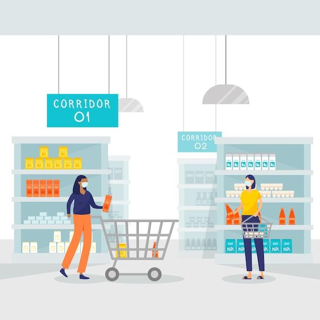 Coronavirus-supermarkt geïllustreerd Gratis Vector
