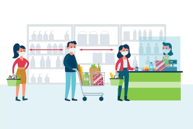 Coronavirus supermarkt illustratie stijl Gratis Vector