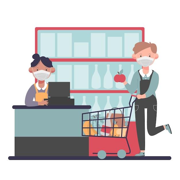Coronavirus supermarkt illustratie Gratis Vector