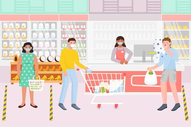 Coronavirus supermarktstijl Gratis Vector