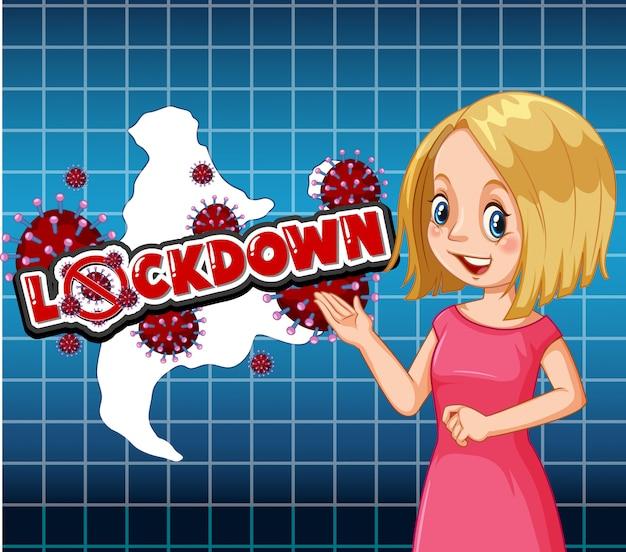 Coronavirus thema achtergrond met verslaggever en woordvergrendeling Gratis Vector