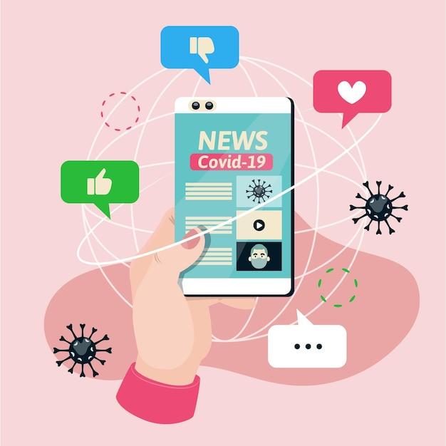 Coronavirus-update op smartphone-illustratie Premium Vector