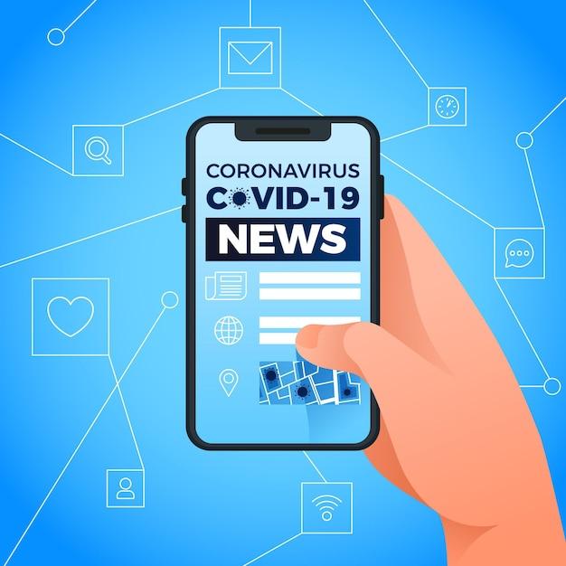 Coronavirus-updateconcept met telefoon Gratis Vector