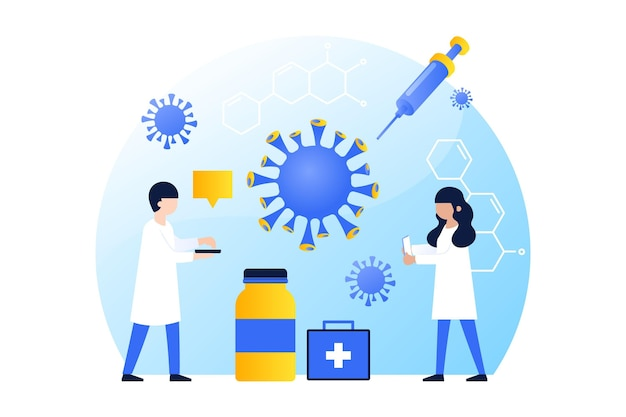 Coronavirus vaccin ontwikkelingsconcept Gratis Vector